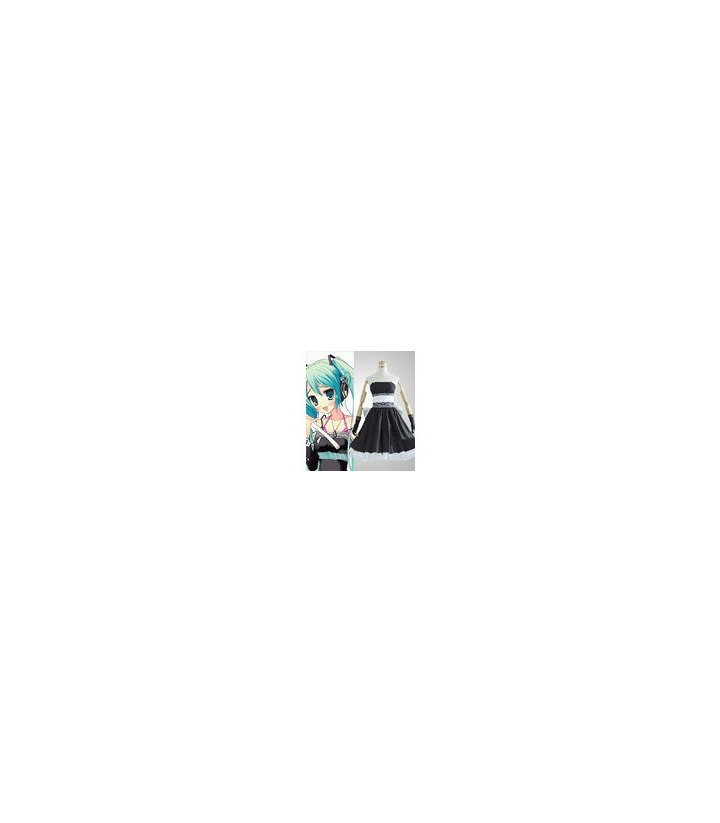 Vocaloid Miku Hatsune Negro cosplay vestido
