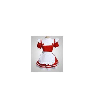 Rojo-blanco uniforme de mucama cosplay Lolita