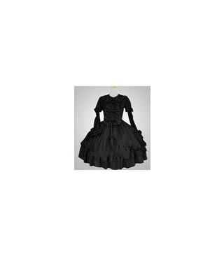 Negro de manga larga vestido clásico Cosplay Lolita